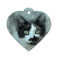 Cat Pet Art Abstract Vintage Dog Tag Heart (two Sides) by Celenk