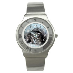 Cat Pet Art Abstract Vintage Stainless Steel Watch
