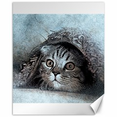 Cat Pet Art Abstract Vintage Canvas 11  X 14   by Celenk