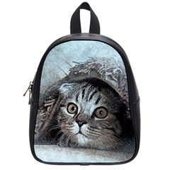 Cat Pet Art Abstract Vintage School Bag (small)