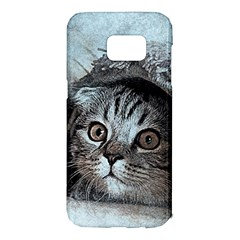 Cat Pet Art Abstract Vintage Samsung Galaxy S7 Edge Hardshell Case by Celenk