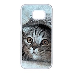 Cat Pet Art Abstract Vintage Samsung Galaxy S7 Edge White Seamless Case by Celenk