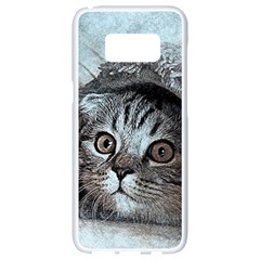 Cat Pet Art Abstract Vintage Samsung Galaxy S8 White Seamless Case by Celenk