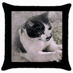 Cat Pet Art Abstract Vintage Throw Pillow Case (black)
