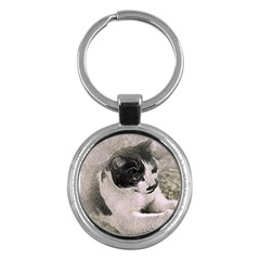 Cat Pet Art Abstract Vintage Key Chains (round)  by Celenk