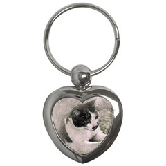 Cat Pet Art Abstract Vintage Key Chains (heart)