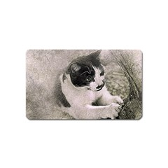 Cat Pet Art Abstract Vintage Magnet (name Card) by Celenk