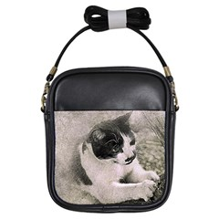 Cat Pet Art Abstract Vintage Girls Sling Bags