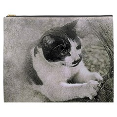 Cat Pet Art Abstract Vintage Cosmetic Bag (xxxl)  by Celenk
