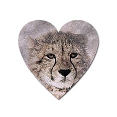 Leopard Art Abstract Vintage Baby Heart Magnet
