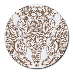 Beautiful Gold Floral Pattern Round Mousepads by 8fugoso