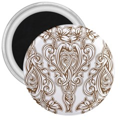Beautiful Gold Floral Pattern 3  Magnets by 8fugoso