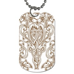 Beautiful Gold Floral Pattern Dog Tag (one Side) by 8fugoso