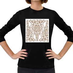 Beautiful Gold Floral Pattern Women s Long Sleeve Dark T-shirts by 8fugoso