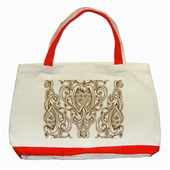 Beautiful Gold Floral Pattern Classic Tote Bag (red) by 8fugoso