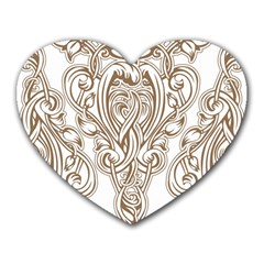 Beautiful Gold Floral Pattern Heart Mousepads by 8fugoso