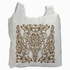 Beautiful Gold Floral Pattern Recycle Bag (two Side)  by 8fugoso