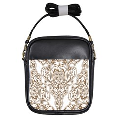 Beautiful Gold Floral Pattern Girls Sling Bags by 8fugoso