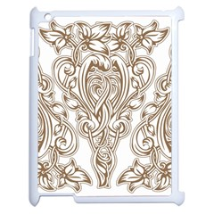 Beautiful Gold Floral Pattern Apple Ipad 2 Case (white) by 8fugoso