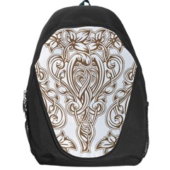 Beautiful Gold Floral Pattern Backpack Bag by 8fugoso