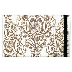 Beautiful Gold Floral Pattern Apple Ipad 2 Flip Case by 8fugoso