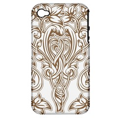 Beautiful Gold Floral Pattern Apple Iphone 4/4s Hardshell Case (pc+silicone) by 8fugoso