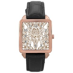 Beautiful Gold Floral Pattern Rose Gold Leather Watch  by 8fugoso