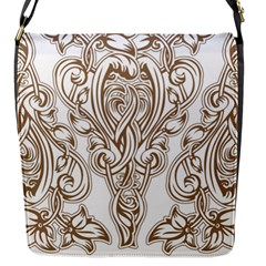 Beautiful Gold Floral Pattern Flap Messenger Bag (s) by 8fugoso