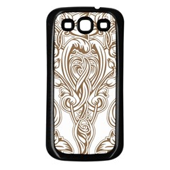 Beautiful Gold Floral Pattern Samsung Galaxy S3 Back Case (black) by 8fugoso