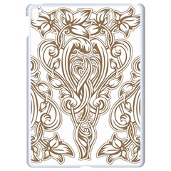 Beautiful Gold Floral Pattern Apple Ipad Pro 9 7   White Seamless Case by 8fugoso