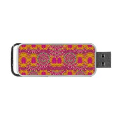 Fern Landscape In Harmony With Bleeding Hearts Fantasy Art Portable Usb Flash (two Sides) by pepitasart