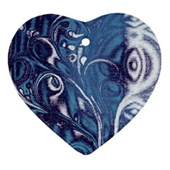 Mystic Blue Flower Heart Ornament (two Sides) by Cveti