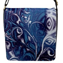 Mystic Blue Flower Flap Messenger Bag (s) by Cveti