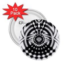 Ornaments Pattern Black White 2 25  Buttons (10 Pack)  by Cveti