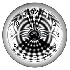 Ornaments Pattern Black White Wall Clocks (silver)  by Cveti