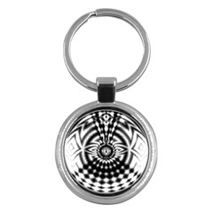 Ornaments Pattern Black White Key Chains (round)  by Cveti