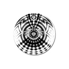 Ornaments Pattern Black White Magnet 3  (round) by Cveti