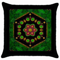Magic Of Life A Orchid Mandala So Bright Throw Pillow Case (black) by pepitasart