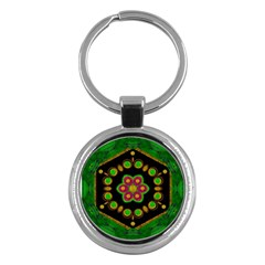 Magic Of Life A Orchid Mandala So Bright Key Chains (round)  by pepitasart