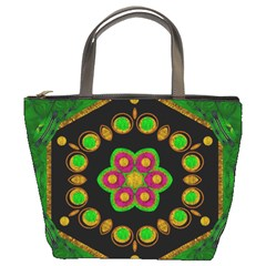 Magic Of Life A Orchid Mandala So Bright Bucket Bags by pepitasart