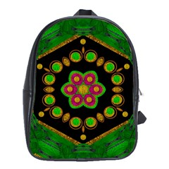 Magic Of Life A Orchid Mandala So Bright School Bag (large) by pepitasart