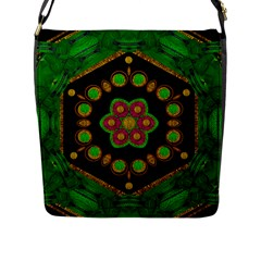 Magic Of Life A Orchid Mandala So Bright Flap Messenger Bag (l)  by pepitasart