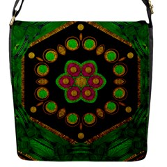 Magic Of Life A Orchid Mandala So Bright Flap Messenger Bag (s) by pepitasart
