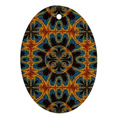 Tapestry Pattern Oval Ornament (two Sides) by linceazul