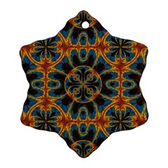 Tapestry Pattern Snowflake Ornament (two Sides) by linceazul