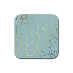 Mint,gold,marble,pattern Rubber Coaster (square)  by 8fugoso