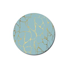 Mint,gold,marble,pattern Rubber Coaster (round)  by 8fugoso