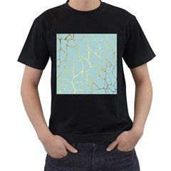 Mint,gold,marble,pattern Men s T Shirt (black) (two Sided) by 8fugoso