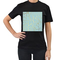 Mint,gold,marble,pattern Women s T Shirt (black) (two Sided) by 8fugoso