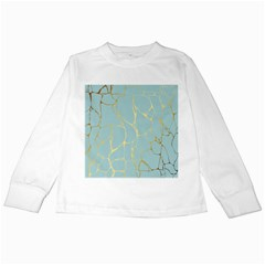 Mint,gold,marble,pattern Kids Long Sleeve T Shirts by 8fugoso